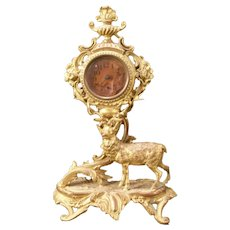19 c French Ormolu Gilt Bronze Stag Figure Statue Sulpture Shelf Mantle Clock Lg