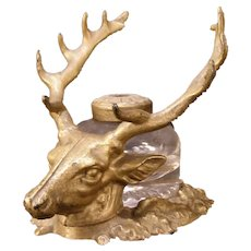 Antique Deer Stag Head Figure Fountain Pen Rack Holder Ink Well Cast Iron Stand