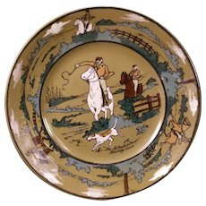 1908 Deldare Ware Buffalo Art Pottery Plate The Fallowfield Hunt Breaking Cover