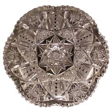 BIG Antique ABP Brilliant Libbey Signed Cut Glass Bowl Candy Dish Center Piece