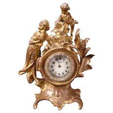 19 c Ormolu Bronze Gilt Mantle Clock Girl Woman Lady Figure Statue Cherub Top 8d