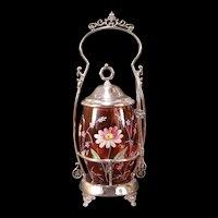 19 c Victorian Moser Enamel Silver Holder Cranberry Glass Pickle Castor Jam Jar