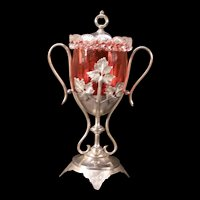 Victorian 19 c Silver Holder Applied Rigaree Cranberry Glass Pickle Castor Jar