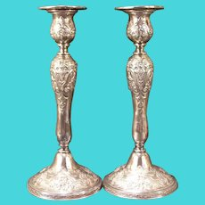Antique Relief Repousse Silver Plate Baluster Candle Holder Stand Sticks Wilcox