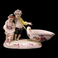 19 c Meissen German Porcelain Figurine Statue Sweet Meat Dish H-PAINTED INSECTS
