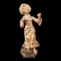 Antique French Bronze Statue Figure Marble ~COLINET~ Sculpture Girl Dancer Woman