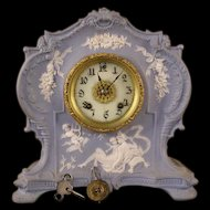 1800's Schafer Vater Jasper Ware German Bisque Cherub Portrait Figure Case Clock