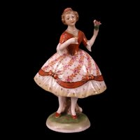 Antique German Porcelain Figurine Girl Dancer Figure HAND PAINTED Dresden Statue
