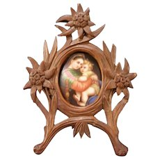 Antique 19 c Miniature Wagner Oil Painting Porcelain HD Carved Walnut Wood Frame