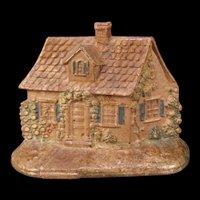 1920's Original HUBLEY #211 Cape Cod Cottage House Cast Iron Doorstop Porter Rose ESTATE