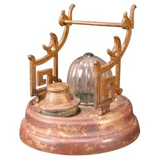 19 c Brass Gravity Beehive Inkwell Pen Stand Holder Rack Desk Tray Glass Dome
