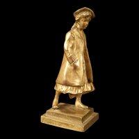 Antique Franz Gruber Austrian Bronze Figure Statue School Girl Woman Sculpture