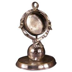 Antique Silver Pocket Watch Stand Holder Belt Figure Globe Clock Display Frame