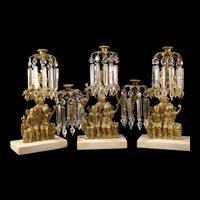 19c Bronze Marble Figure Lamp Crystal Prism Luster Girandole Candlestick Holder Mantle Garniture