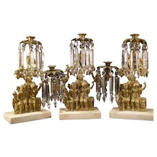 19c Bronze Marble Figure Lamp Crystal Prism Luster Girandole Candlestick Holder Mantle Garniture