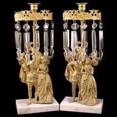 19c Bronze Statue Figure Lamp Crystal Prism Luster Girandole Candlestick Holder