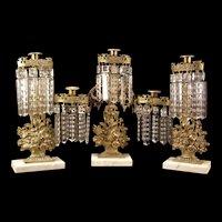 Three Piece 19c Bronze Rose Basket Lamp Crystal Prism Luster Girandole Candlestick Holder