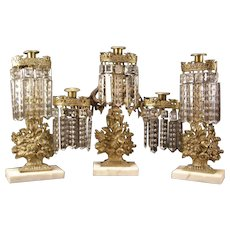 Three Piece 19c Bronze Rose Basket Lamp Crystal Prism Luster Girandole Candlestick Holder