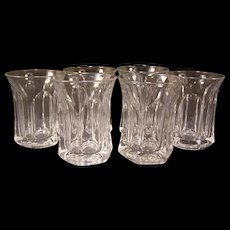 6 Early 1900's Heisey Glass Colonial Flat Panel Pattern EAPG #300 Tumbler ~Set 6