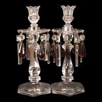 Vintage Heisey Glass Crystal Purple Cut Prism Lamps Candlestick Holder Bobeche