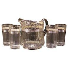 "Vintage Heisey Glass Sterling Silver Overlay Pitcher &Tumbler Set ""Banded Flute"""