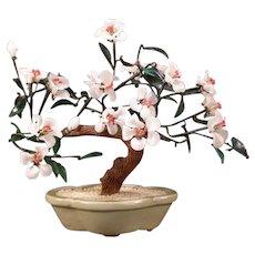 Vintage Carved Stone Glass Bonzai Tree Pottery Planter Asian Centerpiece Flower