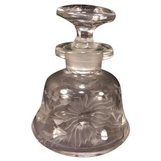 Antique Pairpoint Glass Intaglio Cut Flower Perfume Scent Dresser Vanity Bottle~