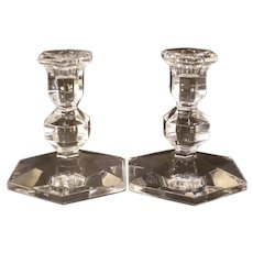 Vintage Val St Lambert Crystal Glass Candlestick Holder Gardenia Pattern PAIR