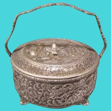 Antique Silver Repousse Relief Portrait Scene Figure Jewelry Candy Dish Basket Box