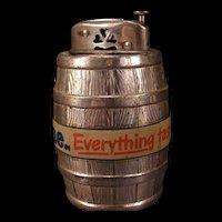 "40s Wooden Oak Barrel Occupied Japan Advertising ""Petri Wine"" Table Desk Lighter"