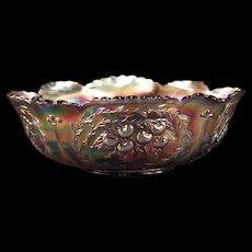 1911 Dugan Carnival Glass Amethyst Cherry Fruit Console Center Piece Banana Bowl
