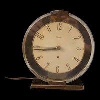 40's Mid Century Modern Art Deco Westclox Brass & Glass Oracle Desk Mantle Clock