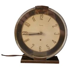 40's Mid Century Modern Art Deco Westclox Brass & Glass Oracle Desk Mantle Clock