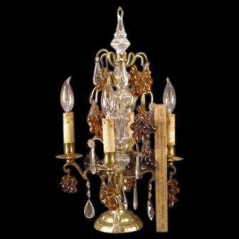 Antique French Bronze Czech Glass Fruit Prism Luster Candelabra Lamp Girandole