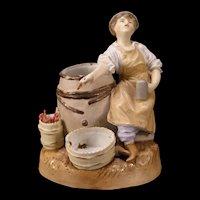 19c Porcelain Figure Desk Set Cigar Humidor Match Safe Holder Smoke Stand Dancer