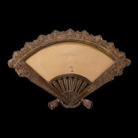 Antique Bronze White Metal Hand Fan Picture Miniature Portrait Photo Stand Frame