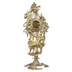 Early 1800s Bronze Pocket Watch Holder Stand Owl Figure Cherub Rooster God Clock