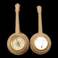 RARE Antique Metal Figural Ship Wall Clock & Porcelain Face Barometer Set 19c