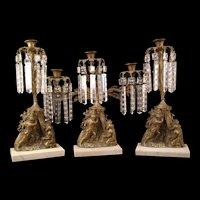 19c Girandole Bronze Soldier Candelabra Mantle Garniture Luster Prism Lamp 3 Piece Set Nativity