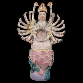 Antique Shiva Avalokitesvara Kwan-Yin Goddess Figure Buddhist Statue Hindu Asian