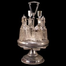 19c Victorian Silver Ormolu Chase Work Cruet Stand Condiment Castor 6 Bottle Set