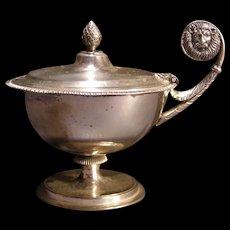 Antique Dixon Sterling Silver Condiment Mustard Dish Pot Lion Figure Salt Cellar