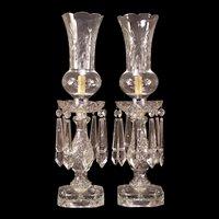 PAIR Vintage Cut Waterford Crystal Shade Hurricane BIG Prism Luster Candelabra Lamp Set
