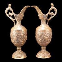 Antique Bronze Metal Cherub Relief Garniture Figure Ewer Urn Mantle Pitcher Vase
