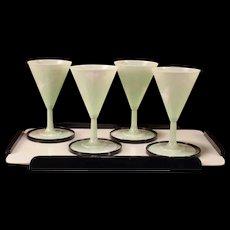 Art Deco Melamine Coaster Barware Martini Cocktail Jade Jadite Green Bar Set