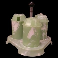 Art Deco Bandalasta Melamine Jade Green Castor S&P Salt Cruet Condiment Set