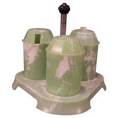 Art Deco Bandalasta Melamine Jade Green Castor S&P Salt Cruet Condiment Set