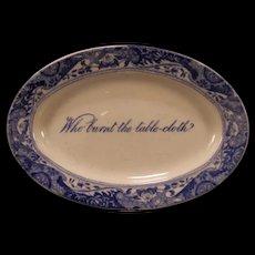 Early 1900's Copeland Spode Blue Italian Miniature Transfer Staffordshire Platter Tray