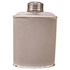 Early 1900's Snow White Agate Enamel Granite Ware Whiskey Hip Flask Liquor Bottle Metal