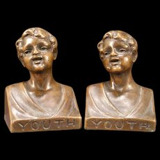 """Vintage Bronze Clad """"YOUTH"""" Weidlich Bros WB 639 Statue Bust Sculpture Bookends"""